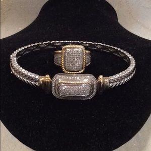 💎 STUNNING, SS/INDIA GOLD, DIAMOND CABLE SET